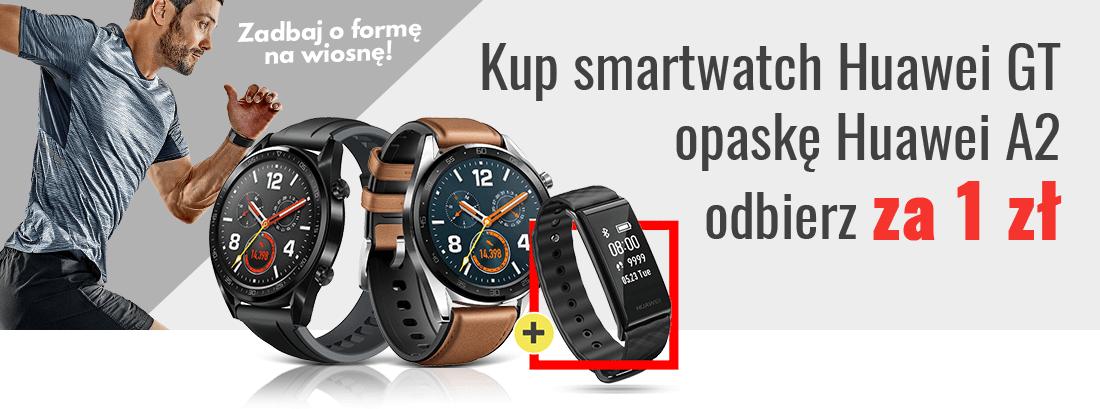 Kup smartwatch Huawei GT, a opaskę Huawei A2 odbierz za 1 zł.